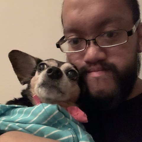 A picture of me and my dachshund-chihuahua mix Kiba.